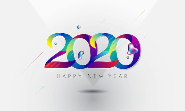 Gelukkig nieuw jaar 2020 belettering kleurrijke stijl Premium Vector