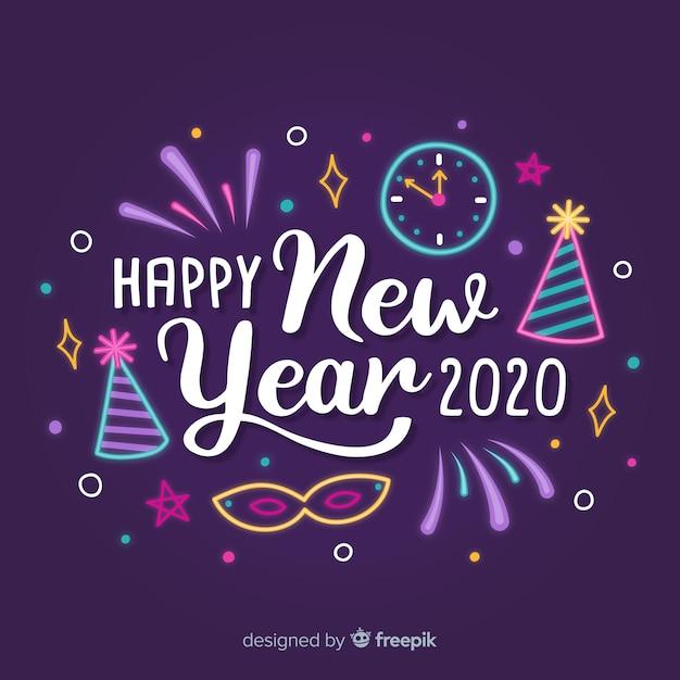 Gelukkig nieuw jaar 2020 belettering met feestmutsen en klok Gratis Vector
