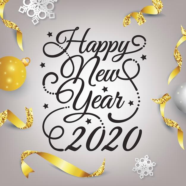 Gelukkig nieuw jaar 2020 belettering met realistische decoratie Gratis Vector