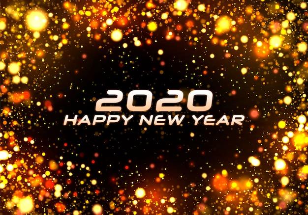 Gelukkig nieuw jaar 2020. bokeh sparkle christmas. Premium Vector