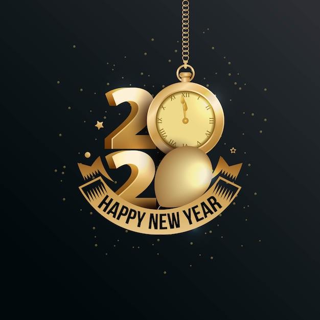 Gelukkig nieuw jaar 2020 elegante wenskaart met gouden horloge Premium Vector
