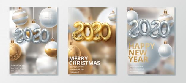Gelukkig nieuw jaar 2020 en vrolijk kerst wenskaartenset Premium Vector