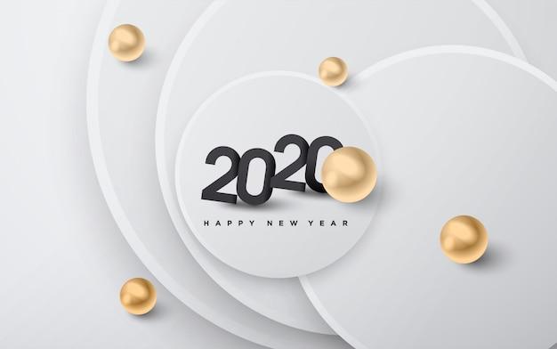 Gelukkig nieuw jaar 2020, gouden korrels en zwarte nummers achtergrond Premium Vector