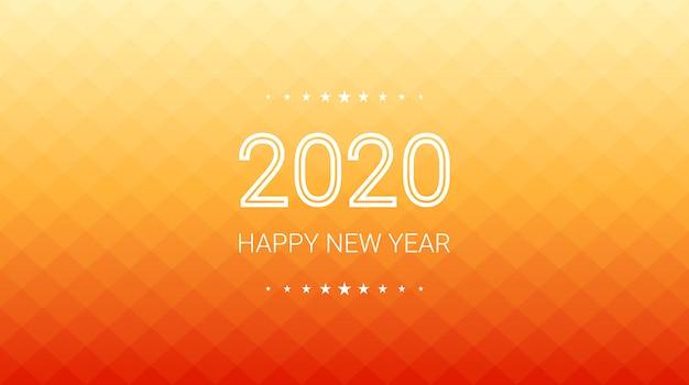 Gelukkig nieuw jaar 2020 in gradiënt van oranje vierkante veelhoekachtergrond Premium Vector