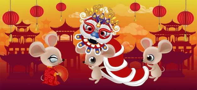 Gelukkig nieuw jaar 2020, jaar van rat op de stadsachtergrond van china Premium Vector