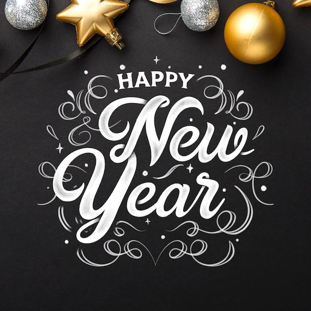 Gelukkig nieuw jaar 2020 met letters Gratis Vector