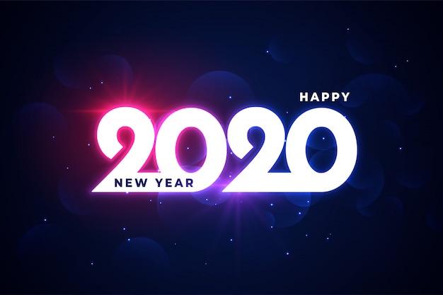 Gelukkig nieuw jaar 2020 neon glanzende gloeiende groet Gratis Vector