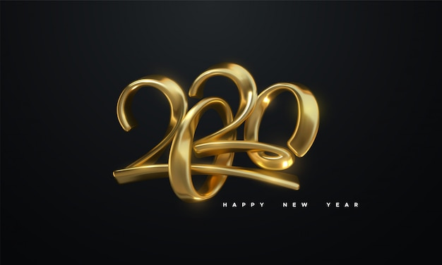 Gelukkig nieuw jaar 2020. vakantie vectorillustratie van gouden metalen kalligrafische nummers 2020 Premium Vector