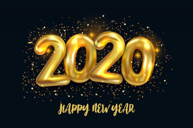 Gelukkig nieuw jaar 2020. vakantie vectorillustratie van metalen gouden ballonnen nummer 2020 Premium Vector