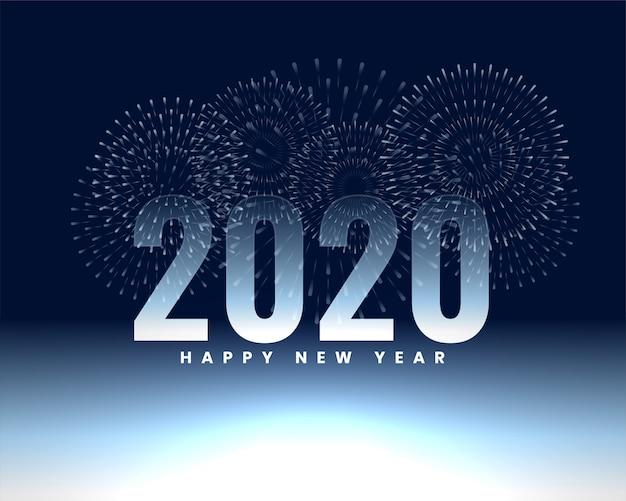 Gelukkig nieuw jaar 2020 vuurwerk banner achtergrond Gratis Vector