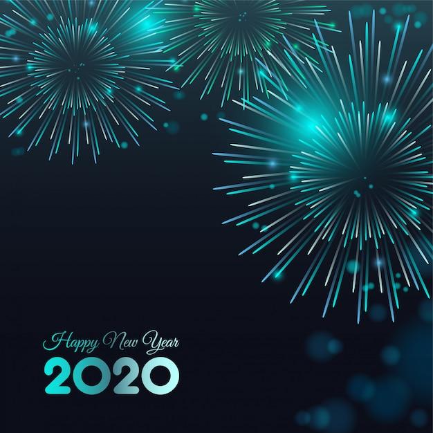 Gelukkig nieuw jaar 2020 vuurwerk Premium Vector