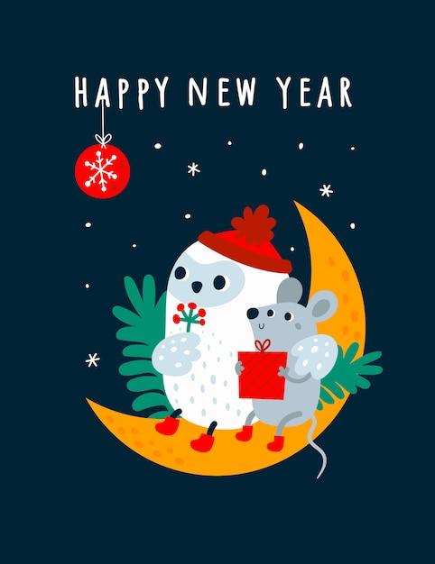 Gelukkig nieuw jaar 2020 wens en grappige cartoon muizen, rat, muis met vogeluil zittend op de maan met feestelijke decoratie Premium Vector