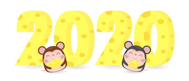 Gelukkig nieuw jaar 2020 wenskaart met schattige muis en kaas Premium Vector