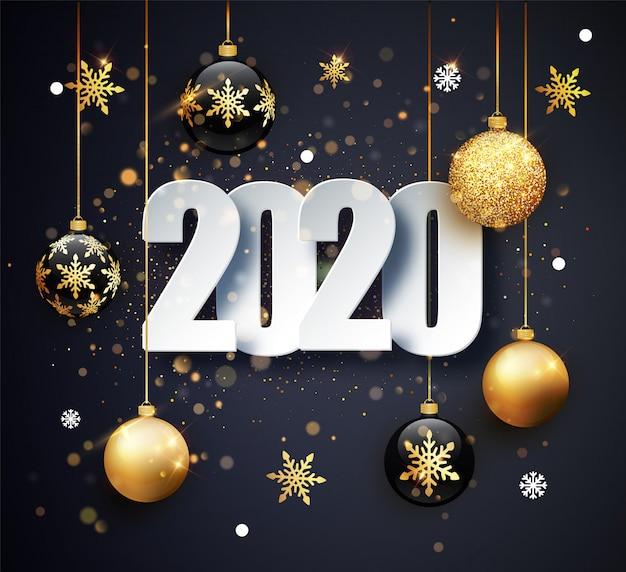 Gelukkig nieuw jaar 2020 wenskaart Premium Vector