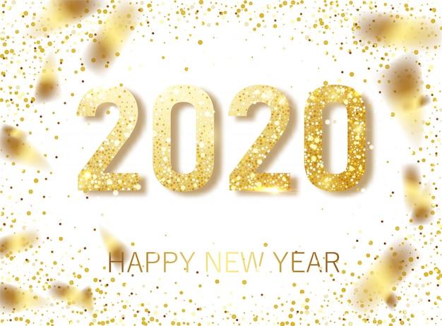 Gelukkig nieuw jaar 2020 Premium Vector