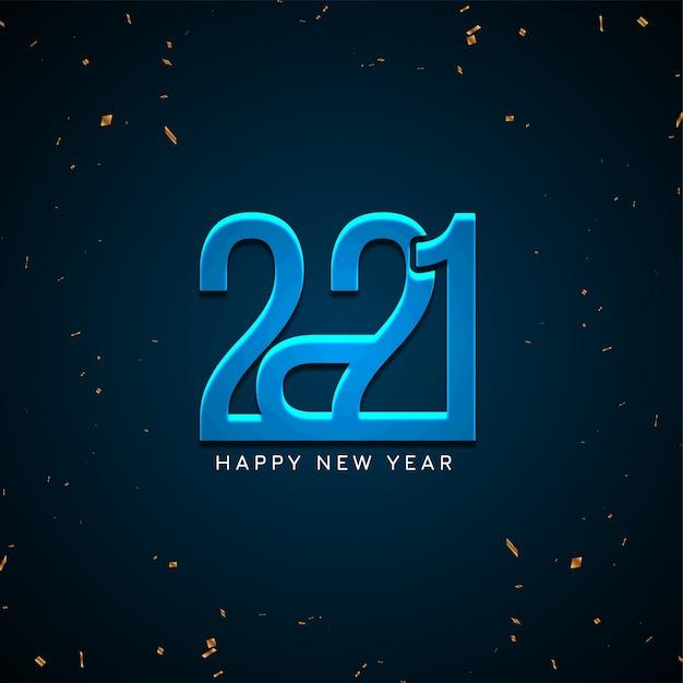 Gelukkig nieuw jaar 2021 glanzende blauwe achtergrond Gratis Vector