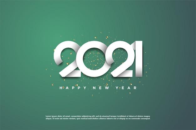 Gelukkig nieuw jaar 2021 met witte cijfers op een groene achtergrond. Premium Vector