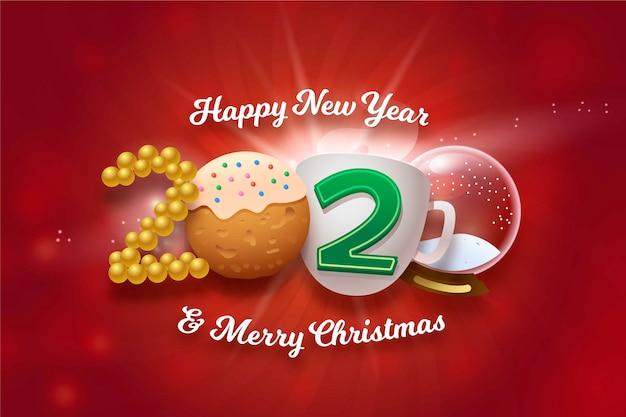 Gelukkig nieuw jaar en vrolijke kerstmis grappige achtergrond Gratis Vector