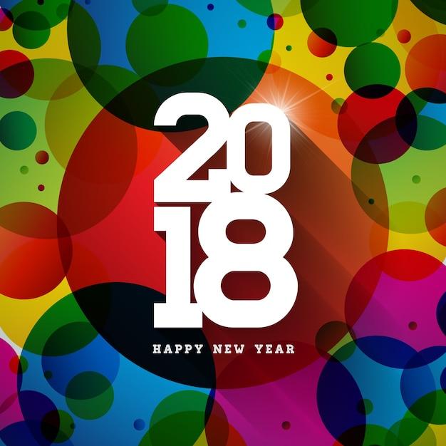 Gelukkig nieuwjaar 2018 illustratie op glanzende kleurrijke achtergrond met typografie design Premium Vector