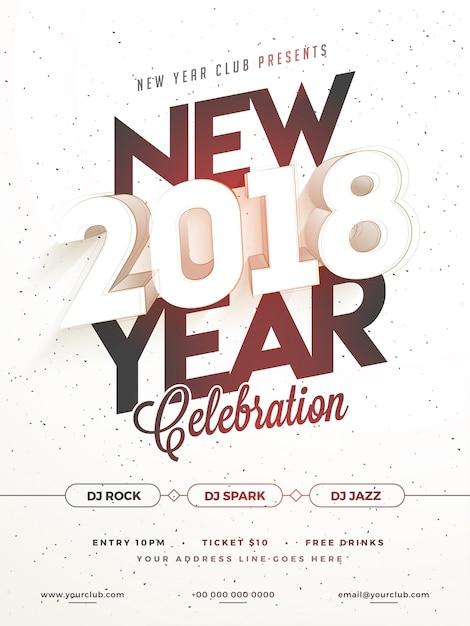 Gelukkig nieuwjaar 2018 partij poster, banner of flyer design. Premium Vector