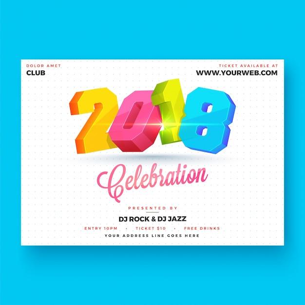 Gelukkig nieuwjaar 2018 partij posterontwerp. Premium Vector