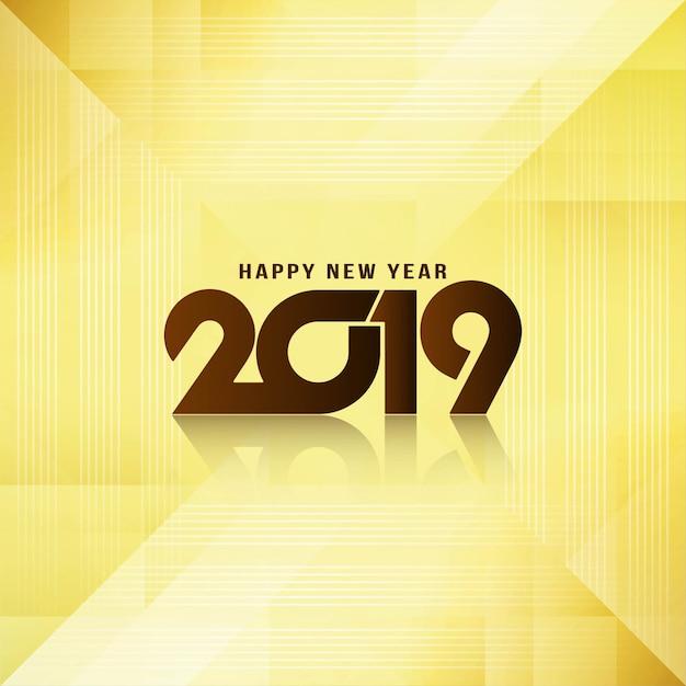 Gelukkig nieuwjaar 2019 elegante groet glanzende achtergrond Gratis Vector