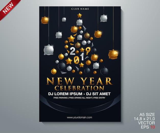 Gelukkig nieuwjaar 2019 gouden en zwarte collors Premium Vector