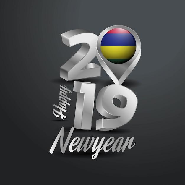 Gelukkig nieuwjaar 2019 gray typography Premium Vector