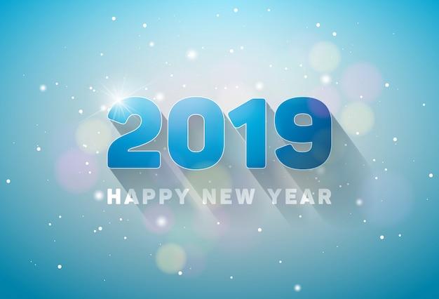 Gelukkig nieuwjaar 2019 illustratie Premium Vector
