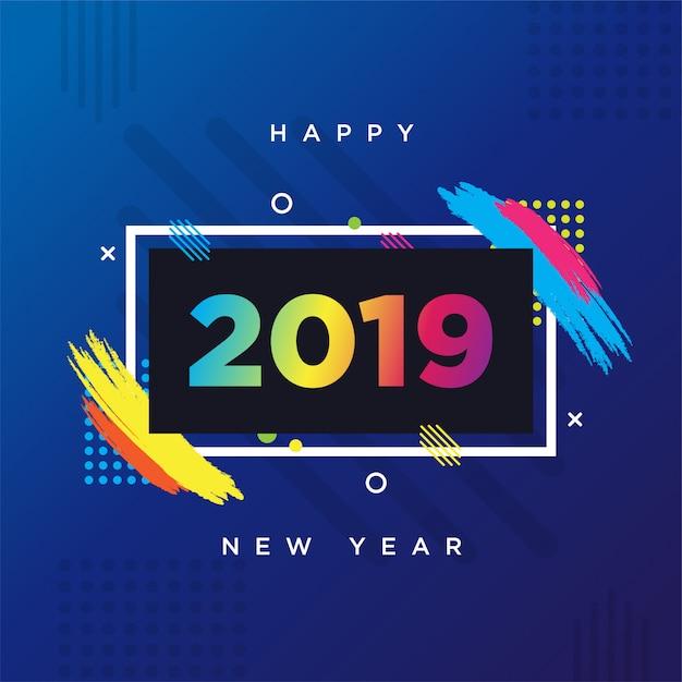 Gelukkig nieuwjaar 2019 kaart thema. vector achtergrond frame voor tekst moderne kunstafbeeldingen voor hipsters. Premium Vector