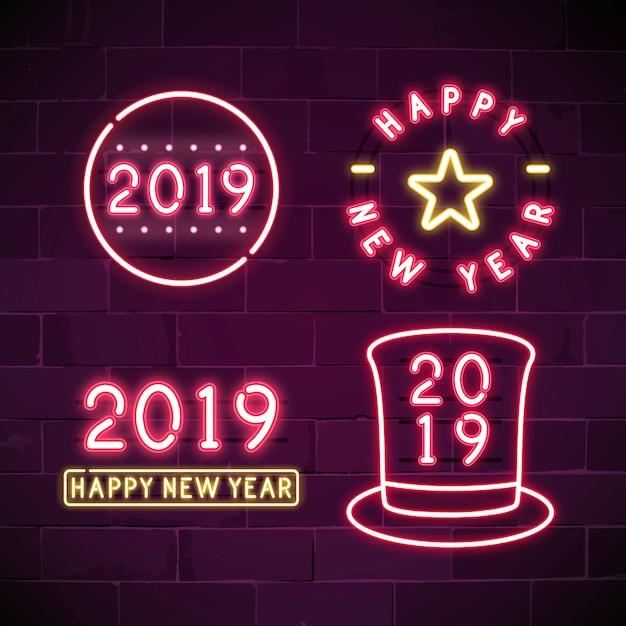 Gelukkig nieuwjaar 2019 neon tekenreeks Gratis Vector