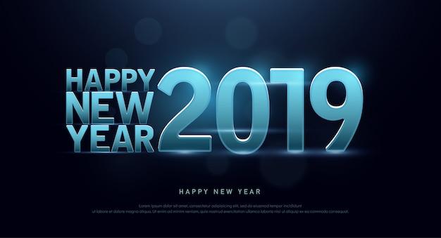 Gelukkig nieuwjaar 2019 technologie lettertype en alfabet Premium Vector