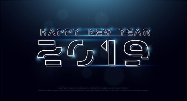 Gelukkig nieuwjaar 2019 technologie neon lijn lettertype digitaal Premium Vector