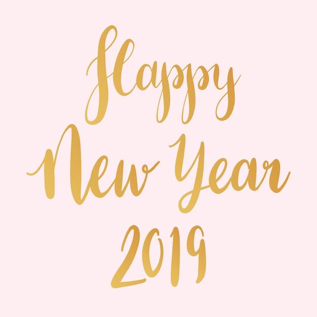 Gelukkig nieuwjaar 2019 typografie stijl vector Gratis Vector