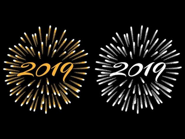 Gelukkig nieuwjaar 2019 Premium Vector