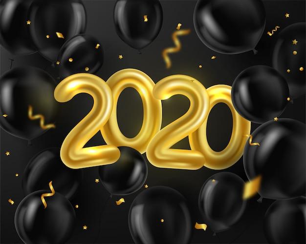 Gelukkig nieuwjaar 2020. achtergrond realistische gouden en zwarte ballonnen en serpentijn Premium Vector