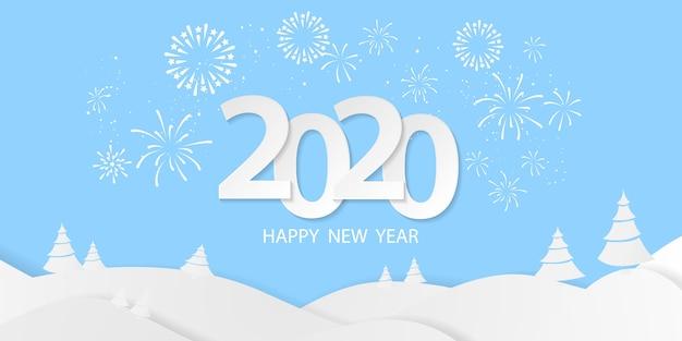 Gelukkig nieuwjaar 2020-achtergrond. wenskaartsjabloon. vier brochure of flyer. sjabloon met vuurwerk. luxe wenskaart rijk. Premium Vector