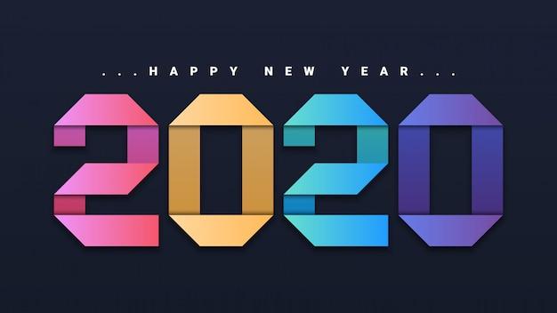 Gelukkig nieuwjaar 2020-achtergrond Premium Vector
