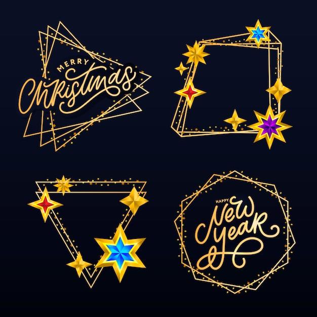 Gelukkig nieuwjaar 2020. belettering compositie met sterren en glitters. vakantie illustratie frame Premium Vector