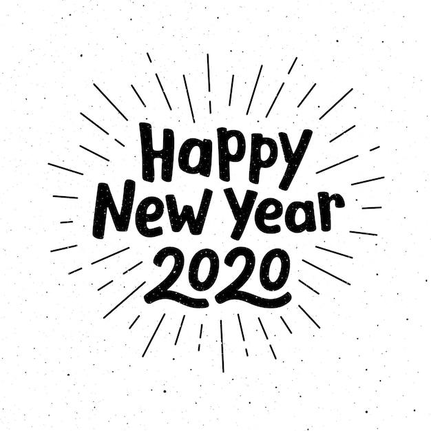 Gelukkig nieuwjaar 2020 belettering Premium Vector