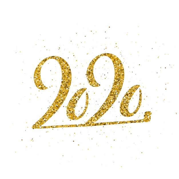 Gelukkig nieuwjaar 2020 met hand getrokken belettering. Premium Vector