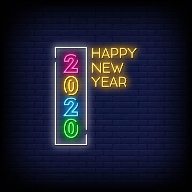 Gelukkig nieuwjaar 2020 neon signs style text Premium Vector