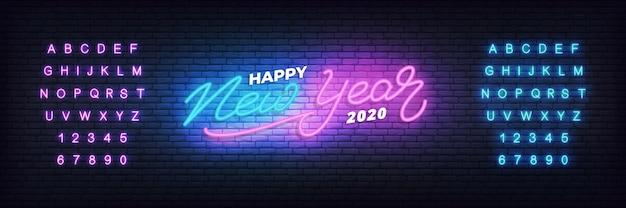 Gelukkig nieuwjaar 2020 neon sjabloon voor spandoek Premium Vector