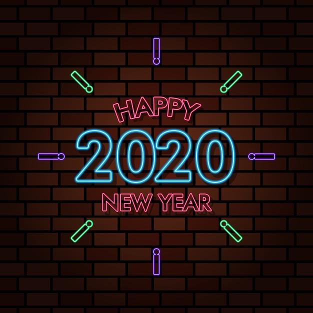 Gelukkig nieuwjaar 2020 neonlicht teksteffect illustratie Premium Vector