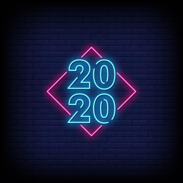 Gelukkig nieuwjaar 2020 neonreclame stijl tekst Premium Vector