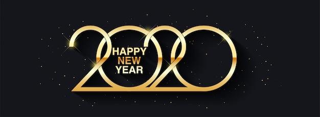 Gelukkig nieuwjaar 2020 tekstontwerp groet illustratie met gouden nummers Premium Vector