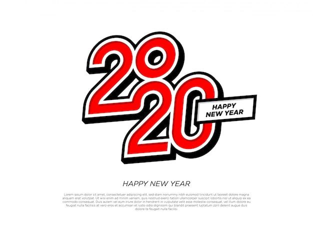 Gelukkig nieuwjaar 2020 typografie-element Premium Vector