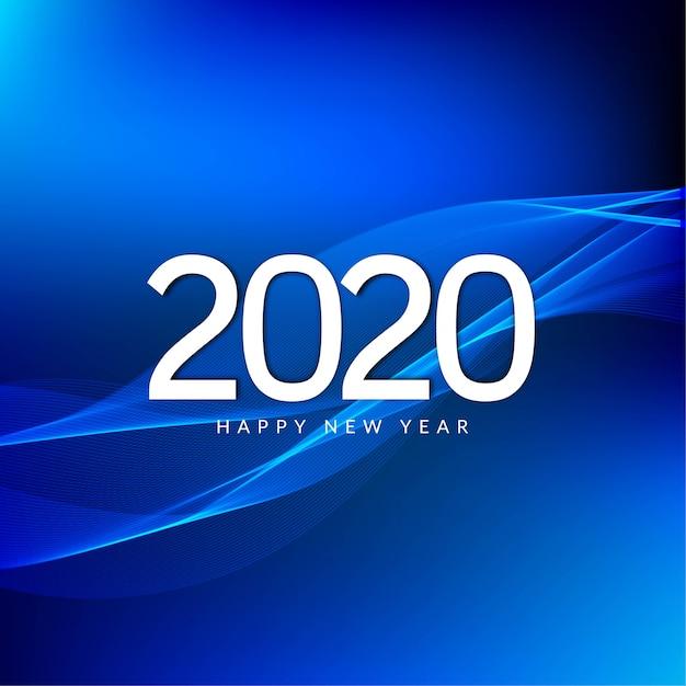 Gelukkig nieuwjaar 2020-vieringgroet blauw Gratis Vector