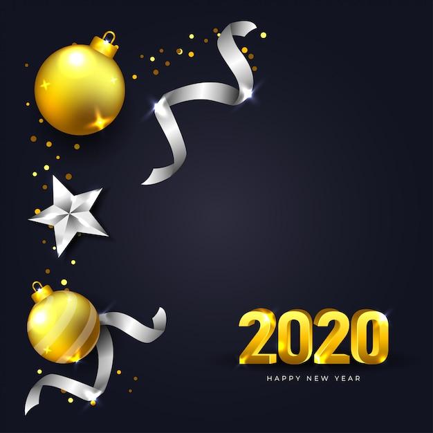 Gelukkig nieuwjaar 2020-wenskaart met donkere en realistische kerstmisdecoratie in gouden en zilveren kleur Premium Vector