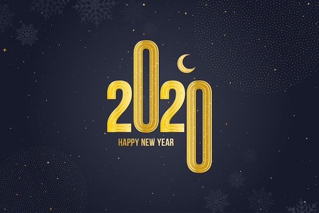 Gelukkig nieuwjaar 2020 wenskaart met gouden teken en maan Premium Vector